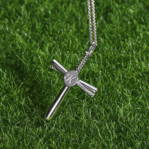 Personalized Baseball Cross Necklace Sterling Silver