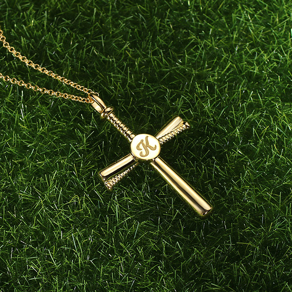 Personalized Baseball Cross Necklace Gold