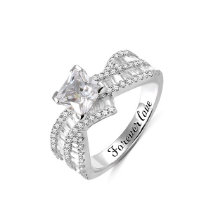 Engraved Princess Cut Gem Promise Ring for Her
