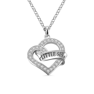 Engraved Heart Wrapped Ribbon Gem Necklace in Silver