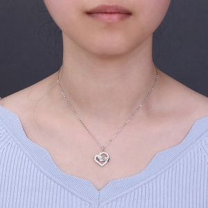 Heart Wrapped Ribbon Gem Necklace