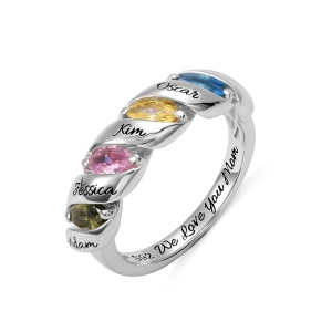 Engraved Mother's Twining Ring with 4 Horse Eye Birthstones