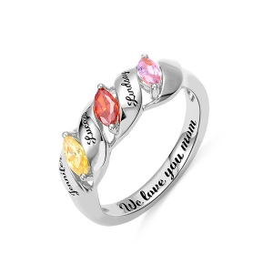 Engraved Mother's Twining Ring with 3 Horse Eye Birthstones