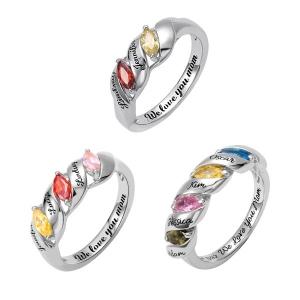 Engraved Mother's Twining Ring with 2-4 Horse Eye Birthstones in Silver