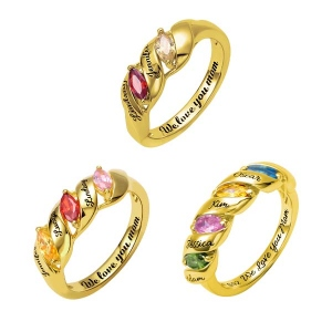 Engraved Mother's Twining Ring with 2-4 Horse Eye Birthstones in Gold