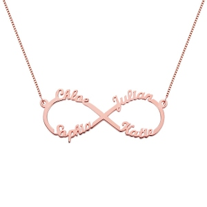Personalized Infinity Necklace 4 Names Rose Gold Plated