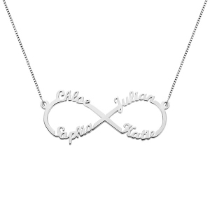Personalized Mom's Infinity Necklace with 4 Names Sterling Silver