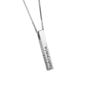 Engraved 4 Sides Bar Necklace Stainless Steel
