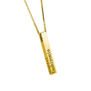 Engraved 4 Sides Bar Necklace in Gold