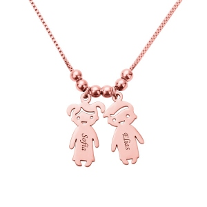 Personalized Kids Charms Necklace Rose Gold