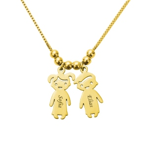 Personalized Kids Charms Necklace Gold