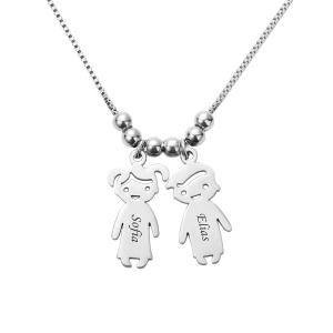 Collana con charms personalizzati per bambini in acciaio inossidabile