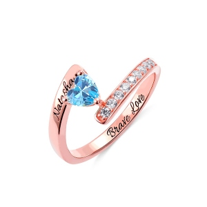 Engraved One Heart Birthstone Ring in Rose Gold