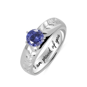 Engraved Baseball Solitaire Birthstone Ring in Silver