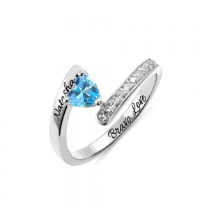 Engraved Heart Held Birthstone Silver Ring