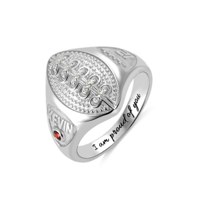 Personalized Football Ring with Birthstone and Engraving in Silver