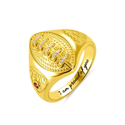 Personalized Football Ring with Birthstone and Engraving in Gold