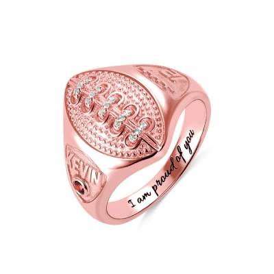 Personalized Football Ring with Birthstone and Engraving in Rose Gold
