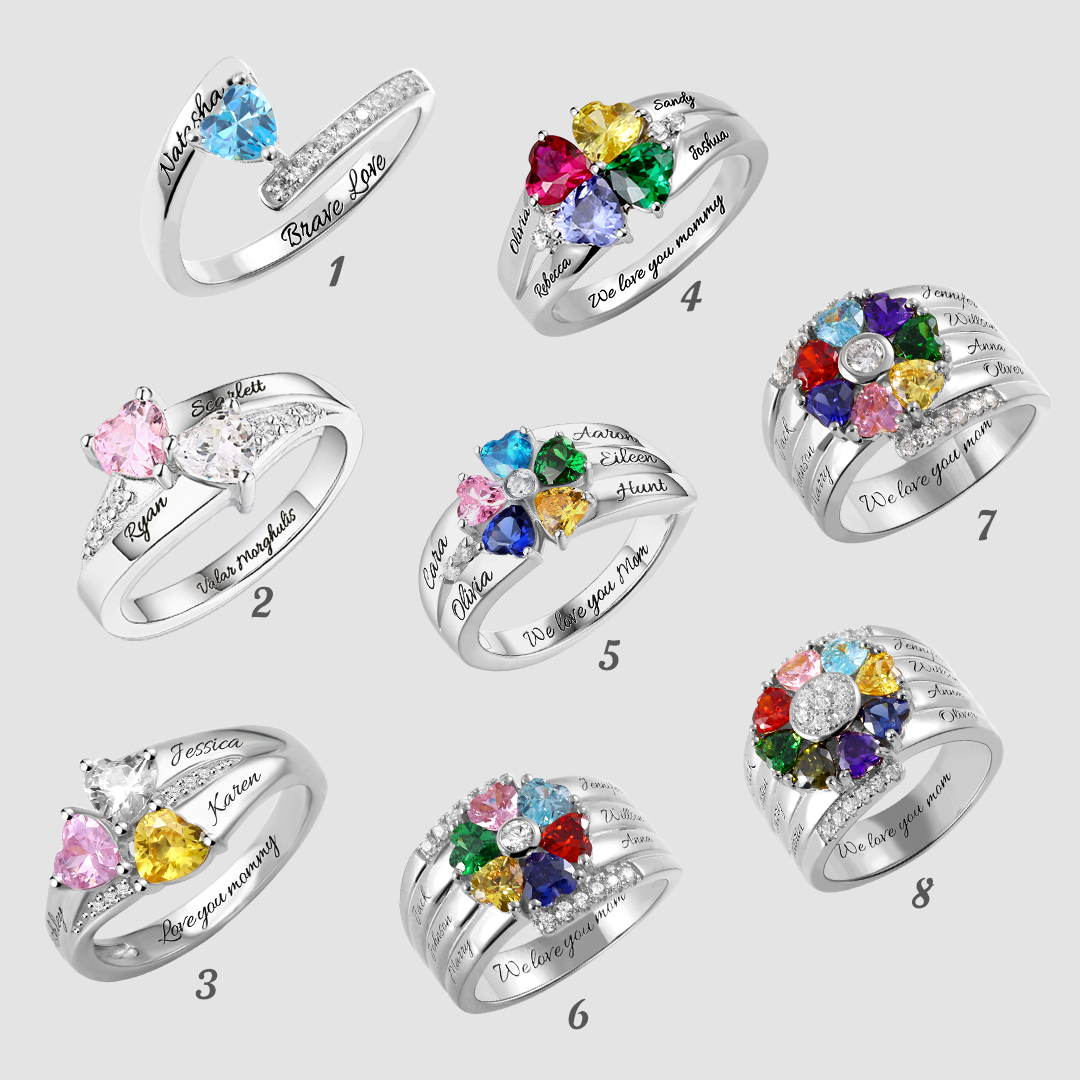 e85d0d4abe9b8 Personalized Heart Birthstone Ring With Engraving Silver