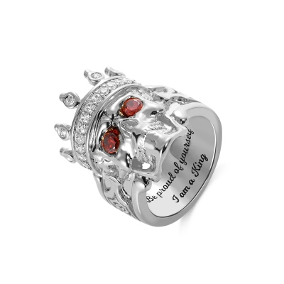 Engraved Skeleton King Ring with Birthstone in Silver