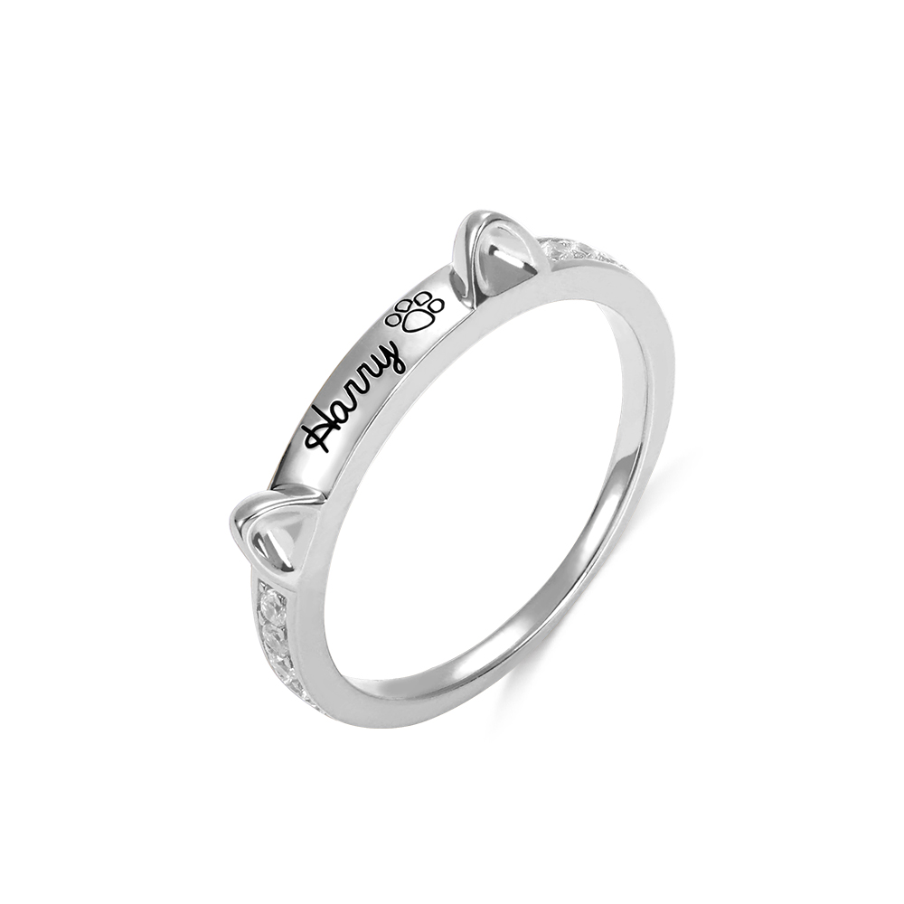 Personalized Name Cat Ring with Ears