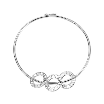 Personalized Bangle Bracelet with Round Shape Pendants