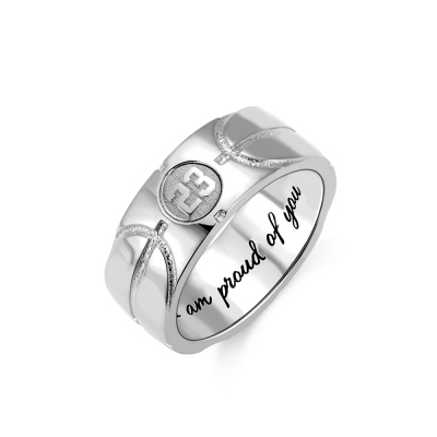 Engraved Basketball Signet Ring in Silver