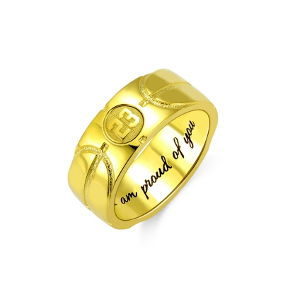 Engraved Basketball Signet Ring in Gold