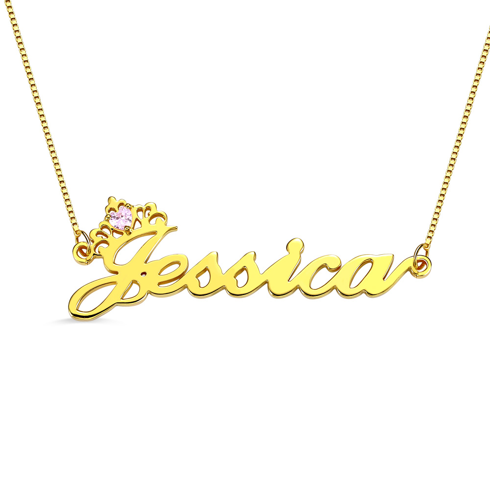 Personalized Crown Name Necklace with Birthstone in Gold