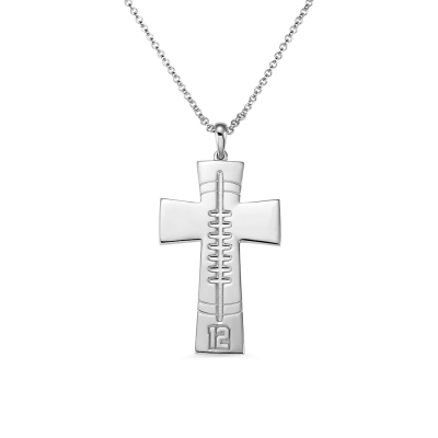 Engraved Football Cross Necklace