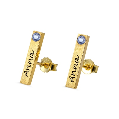 Personalized Bar Earrings with Birthstones