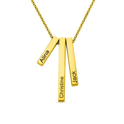 Engraved Triple 3D Vertical Bar Necklace Stainless Steel