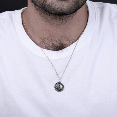 Basketball Necklace with Names in Circle in Sliver