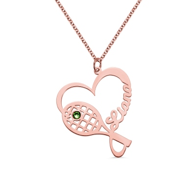 Personalized Racket Name Necklace with Birthstone in Rose Gold