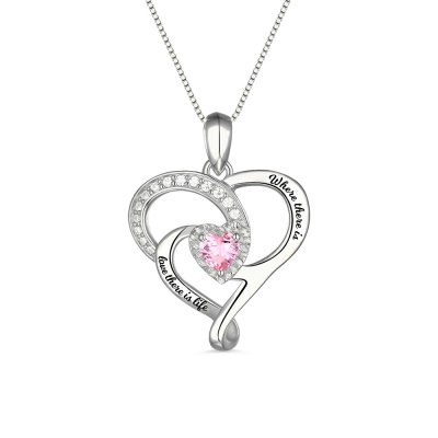 Personalized Dual Heart Necklace with Birthstone