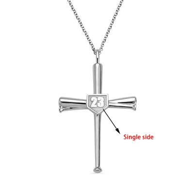 Engraved Single Double Side Baseball Cross Necklace
