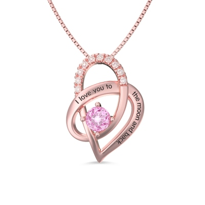 I Love You To The Moon and Back Heart Necklace In Rose Gold