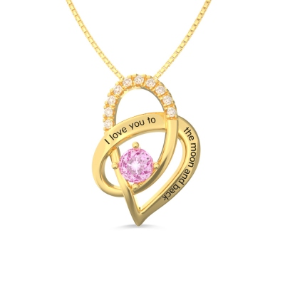 I Love You To The Moon and Back Heart Necklace Gold Plated