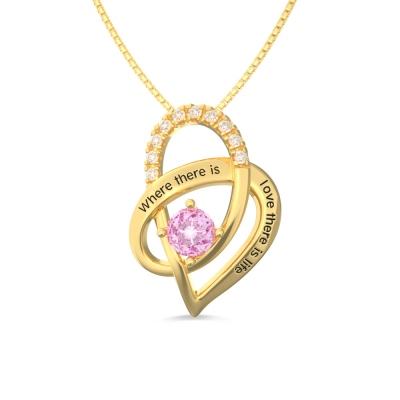 Personalized Heart Necklace With Birthstone