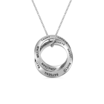 Personalized Family Stacked Circle Name Necklace