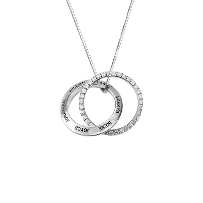 Personalized Family Interlocked Circle Necklace