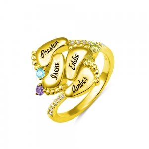 Engraved Baby Feet Ring with Birthstone