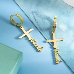 Personalized Cross Name Earrings