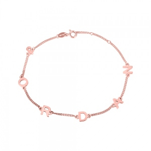 Personalisiertes Sterling Silber Initial / Name Armband in Roségold