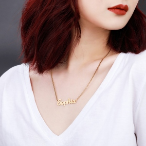 Personalized Sparkling Name Necklace in Gold