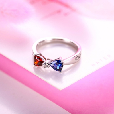 Custom Heart 2 Names & Birthstones Bow Ring In Rose Gold