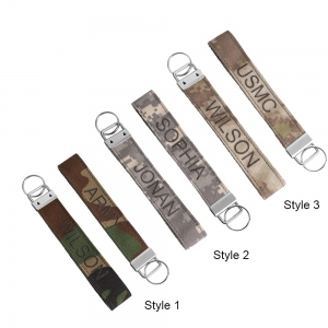 Personalized Camo Embroidered Fabric Keychain