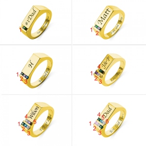 Personalized Birthstone Men's Ring Family Ring