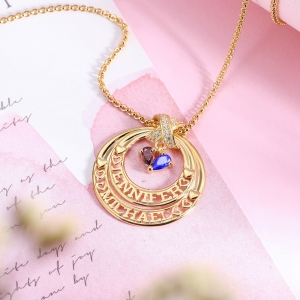 Personalized Eternal Embrace Name Necklace with Double Birthstones