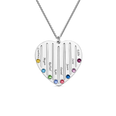 Personalized Heart Birthstone Necklace Family Necklace